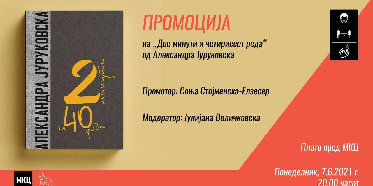 """АЛЕКСАНДРА ЈУРУКОВСКА ЈА ПРОМОВИРА КНИГАТА КРИТИКИ """"ДВЕ МИНУТИ И ЧЕТИРИЕСЕТ РЕДА"""""""